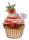 Muffin cupcake colorful with strawberry Stock Photo