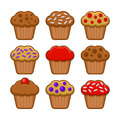 Muffin Icon Set. Blueberry, Chocolate and Cherry Cupcake. Vector Royalty Free Stock Photo