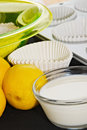 Muffin ingredients making lemon muffins cupcakes Royalty Free Stock Photo