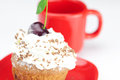 Muffin with whipped cream Stock Photography