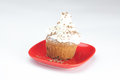 Muffin with whipped cream Stock Photos