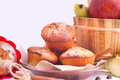 Muffins with apple and cinnamon muffin apples sticks on the kitchen Stock Photo