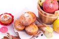 Muffins with apple and cinnamon muffin icing sugar star sticks Royalty Free Stock Photo
