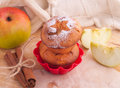 Muffins with apple and cinnamon muffin icing sugar star sticks on the kitchen Royalty Free Stock Images