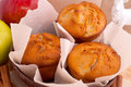 Muffins with apple and cinnamon red sticks Stock Images