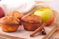 Muffins with apple and cinnamon red sticks on open book Royalty Free Stock Photography