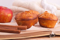 Muffins with apple and cinnamon red sticks on open book Stock Photo