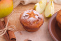 Muffins with apple and cinnamon sticks Stock Image