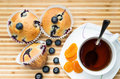 Muffins with blueberries and apricots overhead sho shoot tea wood background Royalty Free Stock Photos