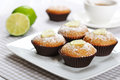 Muffins with bran diet and fresh lime on plate Royalty Free Stock Photography