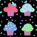 Muffins cakes sweets confectionary seamless pattern