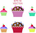 Muffins cakes sweets confectionary vector eps Royalty Free Stock Images