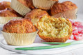 Muffins with cheese bacon and herbs Royalty Free Stock Image