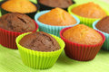 Muffins in colorful moulds Stock Photography