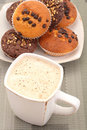 Muffins and cup of coffee Royalty Free Stock Photo