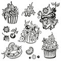 Muffins cupcakes birthday cakes muffin set Stock Image