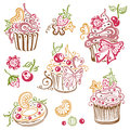 Muffins cupcakes colorful birthday cakes muffin vector set Royalty Free Stock Photos