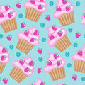 Muffins, cupcakes seamless pattern. Delicious Cake background, texture. Baby, Kids wallpaper. Vector illustration.