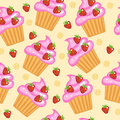 Muffins, cupcakes seamless texture. Delicious Cake background. Baby, Kids wallpaper and textiles. Vector illyustration