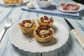 Muffins with eggs bacon and cheese
