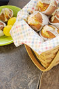 Muffins lemon poppy seed wicker picnic basket ceramic tile Royalty Free Stock Photos