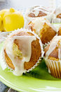 Muffins made lemons poppy seeds glazed icing top Royalty Free Stock Photos