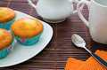 Muffins party various on a plate with tea set Royalty Free Stock Images