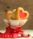 Muffins in the shape of a heart sweet gift for valentine s day Stock Photography