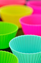 Muffins silicone cup colorful close up Stock Images