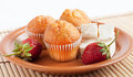 Muffins with strawberry and cream cheese Stock Photo
