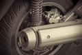 Muffler and damper old motorcycle parts Royalty Free Stock Images