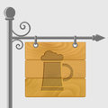 Mug of beer cut out on a wooden signboard eps Royalty Free Stock Photography