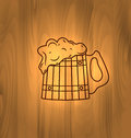 Mug beer foam scorch wooden wall oktoberfest illustration with on old style vintage background Royalty Free Stock Photo