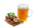 Mug of beer and salami Stock Image