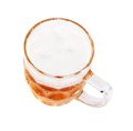 Mug of beer top view close up white background Stock Image