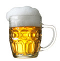 Mug of beer on white background Royalty Free Stock Images