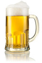 Mug with beer on white with clipping path background Royalty Free Stock Photos