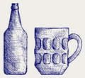 Mug and bottle beer Royalty Free Stock Images
