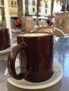Mug of coffee alfresco Royalty Free Stock Photo