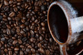 Mug On Coffee Beans Royalty Free Stock Photo