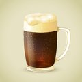 Mug of dark beer emblem cool frosty glass cold with foam vector illustration Royalty Free Stock Image