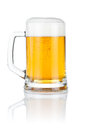 Mug fresh beer isolated over a white Royalty Free Stock Photo