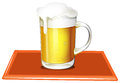 A mug full of cold beer illustration on white background Stock Image