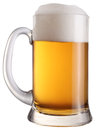 Mug full of fresh beer. File contains a path to cut. Royalty Free Stock Photo