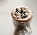 Mug of hot chocolate with marshmallows on table Stock Photography