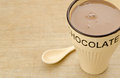 Mug hot chocolate of with spoon Stock Photography