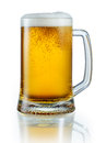 Mug of light beer isolated on white background clipping pa with path Stock Photos