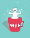 A mug of milk boy demonstrating the strength after drinking Royalty Free Stock Photos