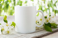 Mug Mockup With Apple Blossom