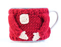Mug in a sweater handwork for tea the stylized under santa Royalty Free Stock Photos